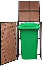 vidaXL Mülltonnenbox 1 Tonne Poly Rattan Braun