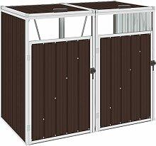 vidaXL Mülltonnenbox für 2 Mülltonnen Braun