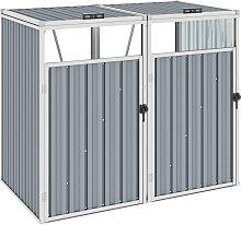 vidaXL Mülltonnenbox für 2 Mülltonnen Grau