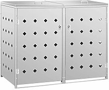 vidaXL Mülltonnenbox für 2 Tonnen Müllbox