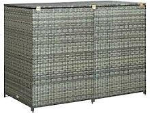vidaXL Mülltonnenbox für 2 Tonnen Poly Rattan