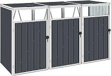 vidaXL Mülltonnenbox für 3 Mülltonnen Anthrazit