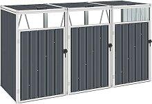 vidaXL Mülltonnenbox für 3 Mülltonnen Grau