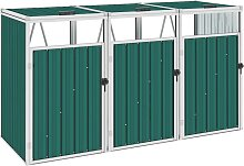 vidaXL Mülltonnenbox für 3 Mülltonnen Grün