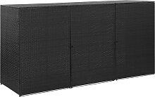 vidaXL Mülltonnenbox für 3 Tonnen Schwarz
