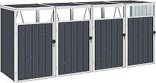 vidaXL Mülltonnenbox für 4 Mülltonnen Anthrazit