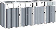 vidaXL Mülltonnenbox für 4 Mülltonnen Grau