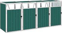 vidaXL Mülltonnenbox für 4 Mülltonnen Grün