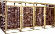 vidaXL Mülltonnenbox für 4 Tonnen Kiefernholz