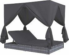 vidaXL Outdoor-Lounge-Bett mit Vorhängen Poly
