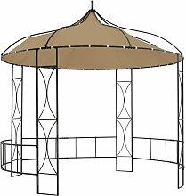 vidaXL Pavillon 300x290 cm Taupe Rund