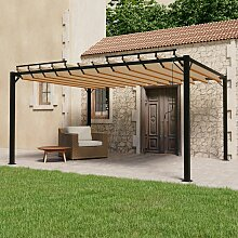 vidaXL Pavillon mit Lamellendach 3x4 m Taupe Stoff