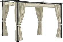 vidaXL Pavillon mit Vorhängen 3 x 3 m Creme Stahl