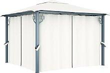 vidaXL Pavillon mit Vorhängen 300 x 300 cm Creme
