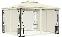 vidaXL Pavillon mit Vorhängen 300x300x265 cm Creme