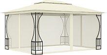 vidaXL Pavillon mit Vorhängen 300x400x265 cm Creme