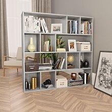 vidaXL Raumteiler/Bücherregal Betongrau