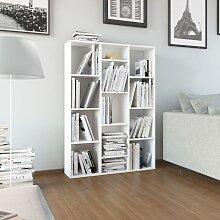 vidaXL Raumteiler/Bücherregal Hochglanz-Weiß
