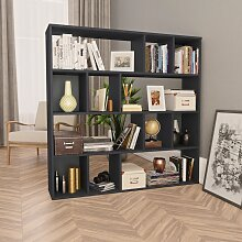 vidaXL Raumteiler/Bücherregal Hochglanzschwarz