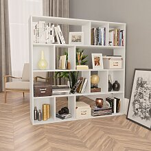 vidaXL Raumteiler/Bücherregal Weiß 110×24×110