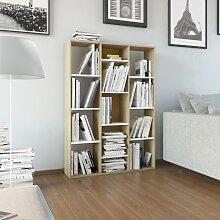 vidaXL Raumteiler/Bücherregal Weiß Sonoma-Eiche