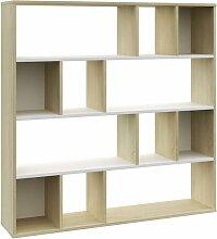 Vidaxl - Raumteiler/Bücherregal Weiß und Eiche