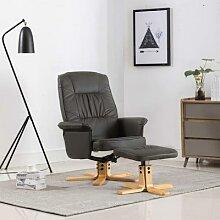 vidaXL Relaxsessel mit Fußhocker Grau Kunstleder