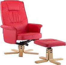 Vidaxl - Relaxsessel mit Fußhocker Kunstleder Rot