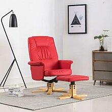 vidaXL Relaxsessel mit Fußhocker Rot Kunstleder