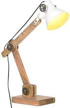 vidaXL Schreibtischlampe Industriestil Weiß Rund