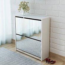vidaXL Schuhschrank mit 2 Fächern Spiegel Weiß