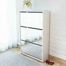 vidaXL Schuhschrank mit 3 Fächern Spiegel Weiß
