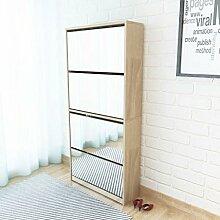 vidaXL Schuhschrank mit 4 Fächern Spiegel Eiche