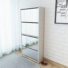 vidaXL Schuhschrank mit 4 Fächern Spiegel Weiß