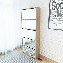 vidaXL Schuhschrank mit 5 Fächern Spiegel Eiche