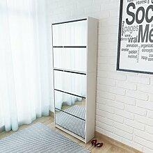 vidaXL Schuhschrank mit 5 Fächern Spiegel Weiß