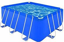 vidaXL Schwimmbecken Planschbecken Schwimmbad Swimmingpool Stahlwand 400x207x122