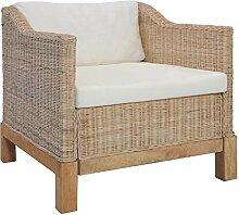 vidaXL Sessel mit Auflagen Rattansessel