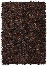 vidaXL Shaggy-Teppich Echtleder 160 x 230 cm Braun