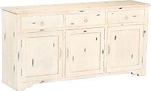 vidaXL Sideboard Weiß 160 x 40 x 80 cm Massivholz