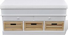 vidaXL Sitz-Kommode Sitzbank Truhenbank Schubladenschrank 2 Schubladen +3 Kisten