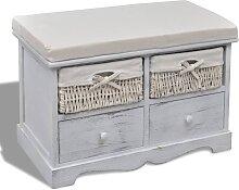 vidaXL Sitzbank mit Stauraum Weiß 62×33×42 cm