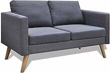vidaXL Sofa 2-Sitzer Dunkelgrau Stoffsofa