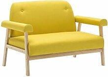 vidaXL Sofa 2-Sitzer Gelb Stoffsofa Polstersofa