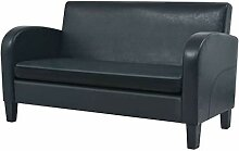 vidaXL Sofa 2 Sitzer Kunstleder Schwarz Couch