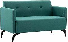 vidaXL Sofa 2-Sitzer Modern Grün Stoffsofa
