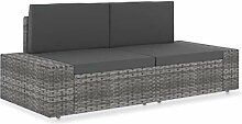 vidaXL Sofa 2-Sitzer Modular Gartenmöbel Ecksofa
