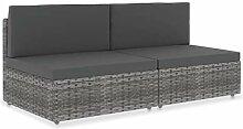 vidaXL Sofa 2-Sitzer Modular Gartenmöbel