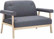 vidaXL Sofa 2-Sitzer Stoff Dunkelgrau Polstersofa