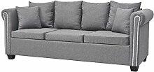 vidaXL Sofa 3-Sitzer Luxus Design Stoff Hellgrau